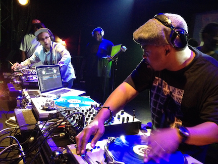 J.Rocc & DJ Spinna spinning with DJ Evil Dee in the background. Dec 2013